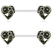 PAIR - Steampunk Hearts Gold-Tone Nipple Barbells