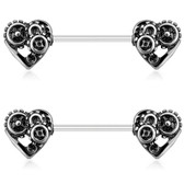 PAIR - Steampunk Hearts Silver-Tone Nipple Barbells