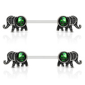 PAIR - Glittery Green Elephant Nipple Barbells