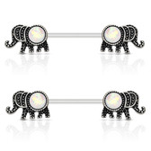 PAIR - Glittery White Elephant Nipple Barbells