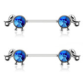 PAIR - Blue Crystal Accent Elephant Nipple Barbells