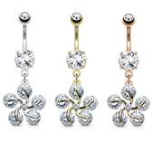 Five CZ Flower Swirl Dangle Belly Ring