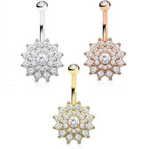 Crystal Accent Paved Dahlia Flower Belly Ring
