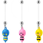 Blushing Bee Steel/Bioflex Pregnancy Belly Ring 14G 1""