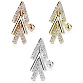 Clear CZ Paved Chevron Arrow Cartilage Stud