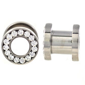 7mm (1G) Clear Gem Rim Screw-Fit Steel Tunnels