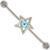 Aqua/Clear Star Dazzle Industrial Bar 14G 1 & 1/2""