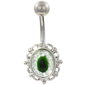 Oval Frame & Green Eye Steel Belly Ring