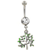 Green Tree of Life Dangle Belly Ring