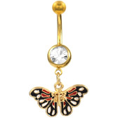 Red & Black Butterfly Dangle Gold-Tone Belly Ring