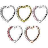 Heart w/CZ Gems Cartilage Daith Earring (Right Ear)