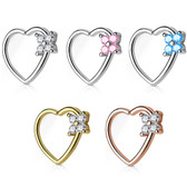 Four CZ Set Side Heart Daith Earring (Left Ear)