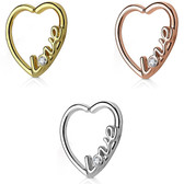 Love Script Heart Cartilage Daith Earring (Left Ear)