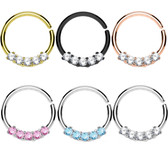 Five CZ Septum Cartilage Hoop 16G 3/8""
