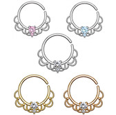 Gem Set Filigree Style Septum Ear Piercing Hoop