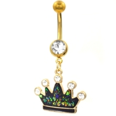Glitter Crown Dangle Gold-Tone Belly Ring