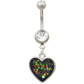 Glitter Heart Dangle Steel Belly Ring