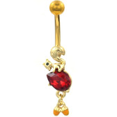 Squirrel and Acorns Dangle Gold-Tone Belly Ring