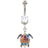 Tropical Sea Turtle Dangle Steel Belly Ring