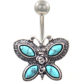 Synthetic Turquoise Wings Butterfly Steel Belly Ring