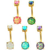 Prong Set Opalescent Glitter Gold-Tone Belly Ring