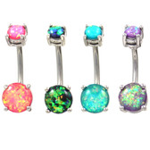 Prong Set Opalescent Glitter Steel Belly Ring