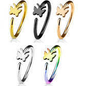 """Butterfly Nose Ring Hoop 20G 5/16"""""""