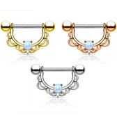PAIR - Synthetic Opal Filigree Nipple Barbells 14G 5/8""