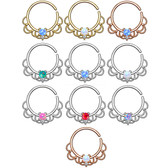 Synthetic Opal Filigree Style Septum Ear Piercing Hoop