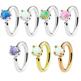 Synthetic Opal Bendable Cartilage Hoop 16G