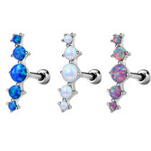Five-Stone Synthetic Opal Cartilage  Stud 16G 1/4""