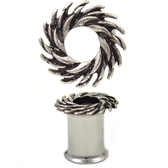"Tribal Swirl Double Flared Steel Tunnels (4g-5/8"")"