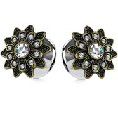 "Sparkling Tribal Flower Steel Tunnels (4g-5/8"")"