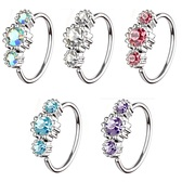 Triple CZ Steel Nose Ring Ear Hoop - 20G 5/16""