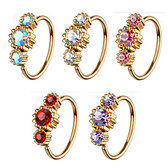 Triple CZ Rose Gold-Tone IP Nose Ring Ear Hoop - 20G