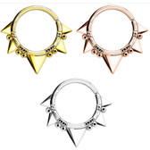 Annealed Spikes & Beads Septum Cartilage Hoop 16G