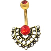 Baroque Jeweled Fan Gold-Tone Steel Belly Ring