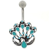 Teal Peacock Steel Belly Ring