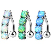 Synthetic Opal Vertical Drop Top Down Steel Belly Ring