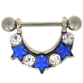 PAIR - Triple Blue Star Nipple Shield Barbells