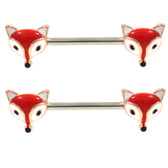 PAIR - Red Fox Face Steel Nipple Barbells