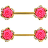 PAIR - Pink Rose & Clear Gem Gold-Tone Nipple Barbells