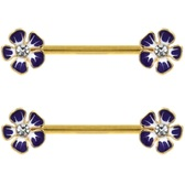 PAIR - Blue Hibiscus Flowers Gold-Tone Nipple Barbells