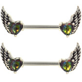 PAIR - Heart CZ Gothic Wings Steel Nipple Barbells