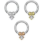 Removable Crystal/Beads Cut Ring Hoop - 18G/16G