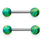 PAIR - Green Synthetic Opal Ball End Nipple Ring Barbells