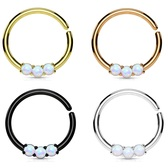 White Three Synthetic Opal Septum/Ear Hoop 16G