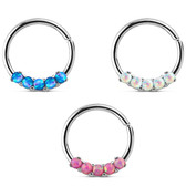 Five Synthetic Opal Steel Septum/Ear Hoop 16G 3/8""