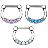 Steel Five Synthetic Opal Center Septum Clicker