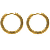 Gold-Tone IP Steel Hinge Hoop Earrings (10-20mm)